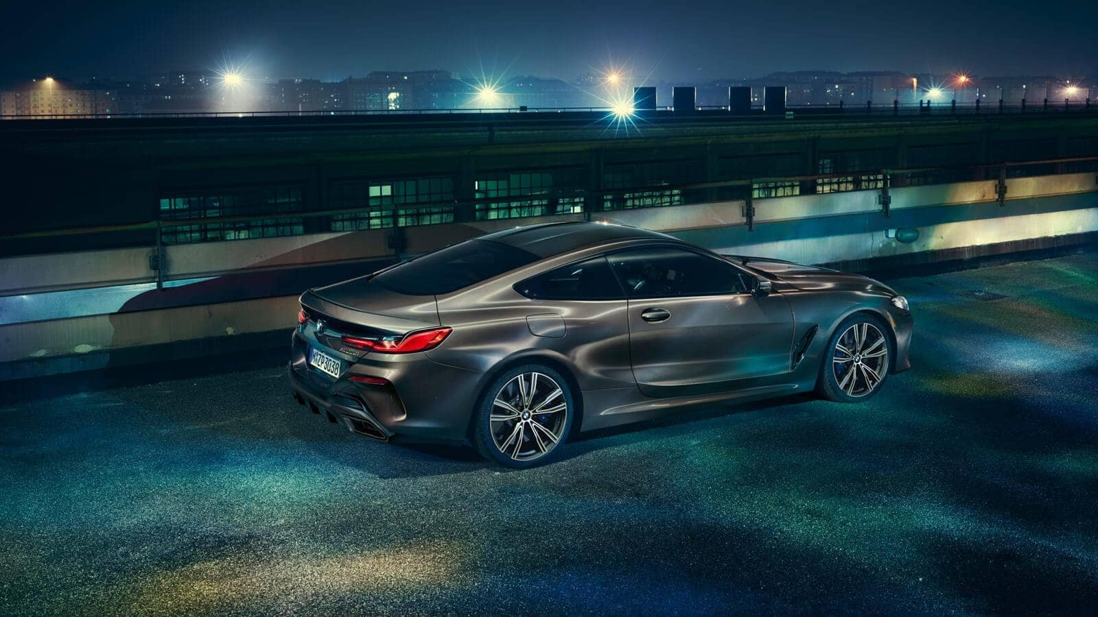 2019 BMW 8 Series in city at night