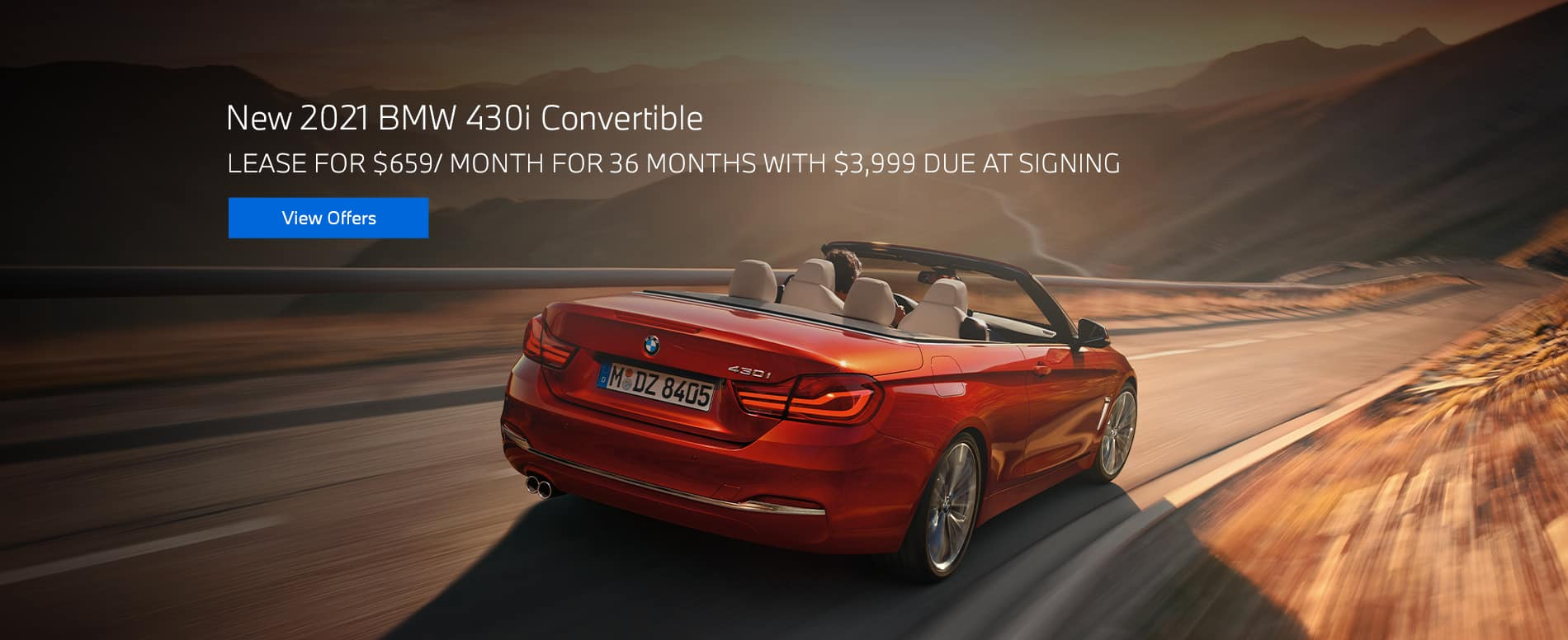 New 2021 BMW 430i Convertible $659/mo. for 36 months $3,999 due at signing
