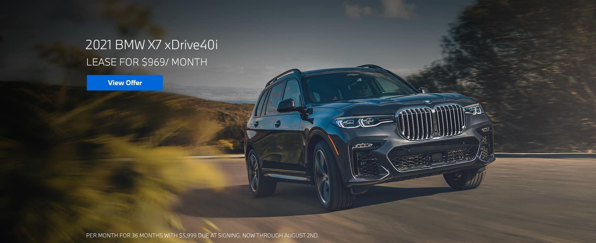 Lease a 2021 BMW X7 xDrive40i, $969