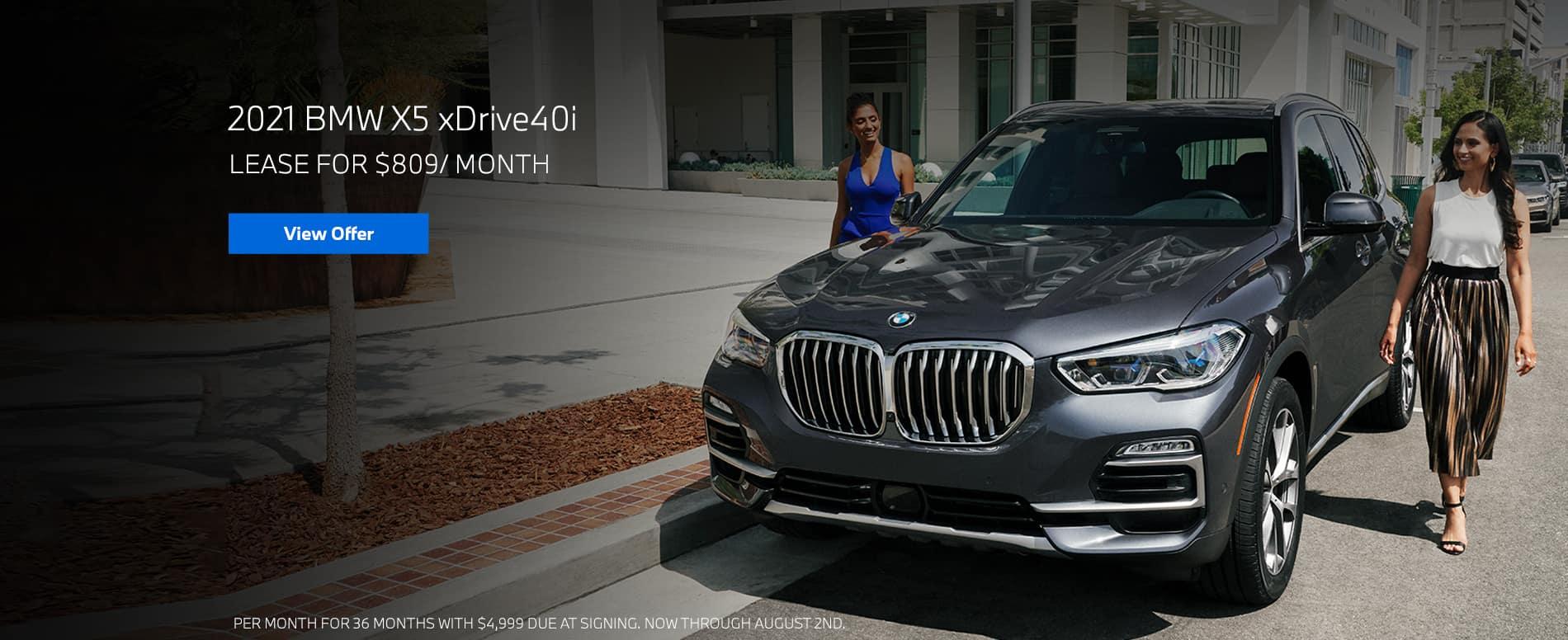Lease a 2021 BMW X5 xDrive40i, $809