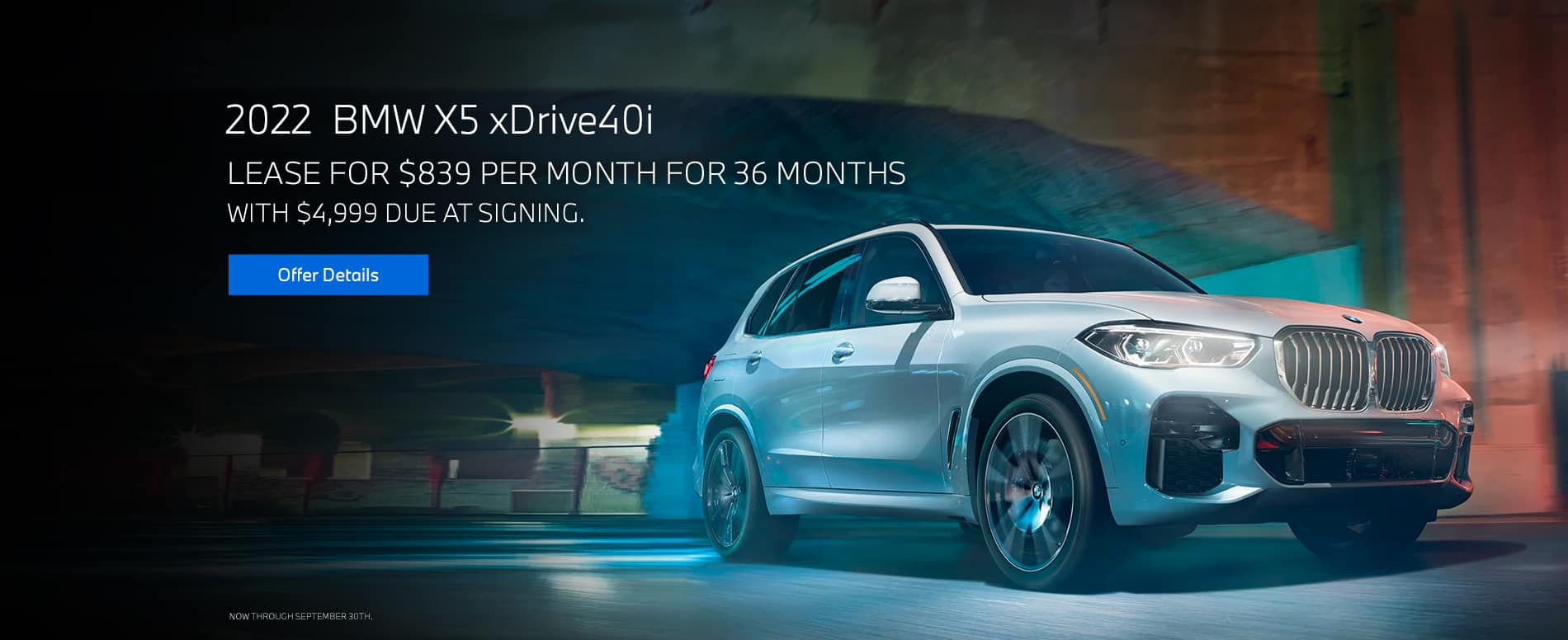 Lease a 2022 BMW X5 xDrive40i, $839