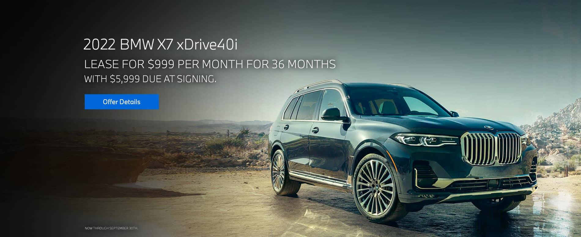Lease a 2022 BMW X7 xDrive40i, $999
