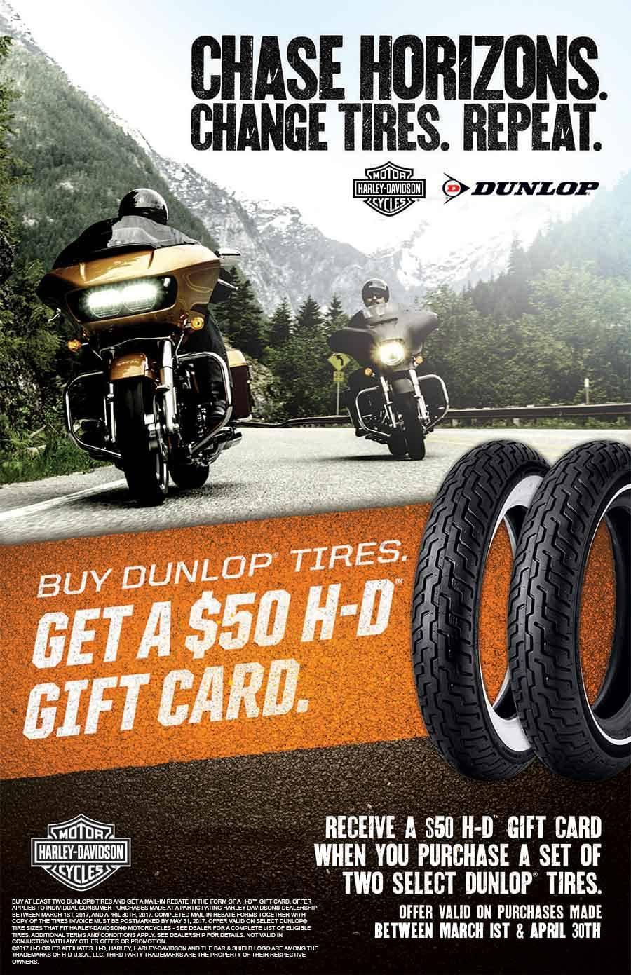 Tire Shop Open Late >> Harley-Davidson Dunlop Tire Promotion | Rawhide Harley ...