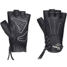 Harley Distressed Perforated Fingerless Riding Gloves 98380-17VW