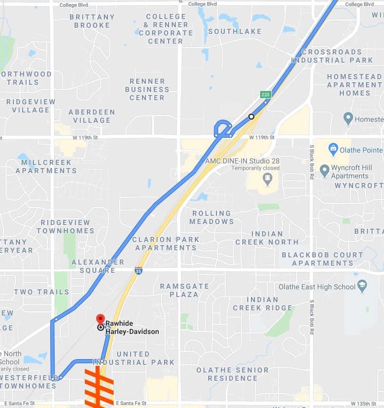 I-35 South Exit 218 Closed near Olathe June 2020
