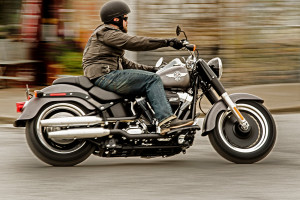 Rider on 2016 Softail Fat Boy Lo