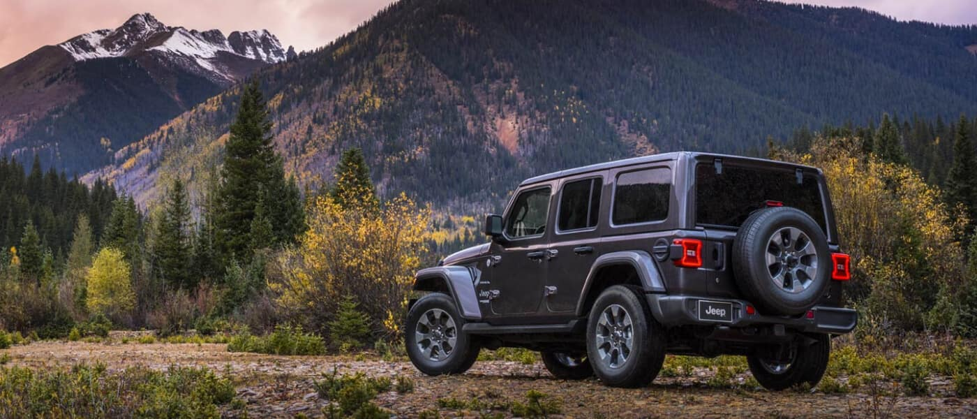 2020 Jeep Wrangler exterior overlooking mountains at sunset