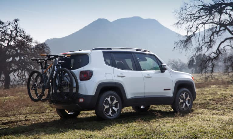 2020 Jeep Renegade exterior parked in field with bikerack