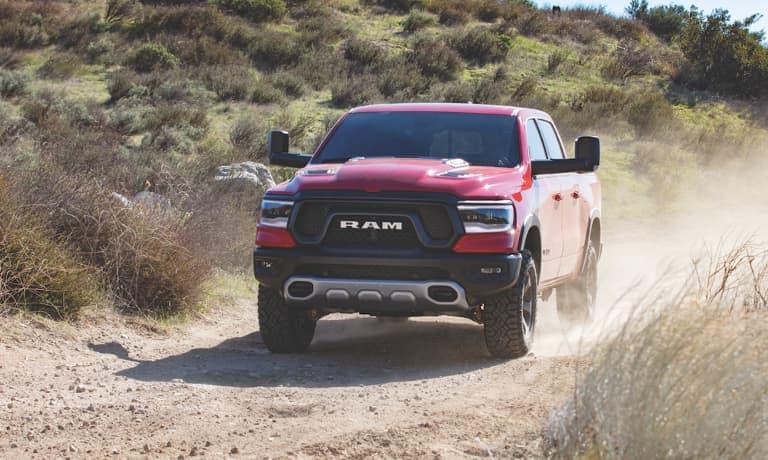 2021 RAM 1500 Driving on Dirt Hill Head On