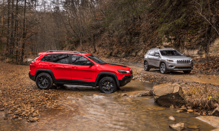 2021 Jeep Cherokee exterior parked in stream
