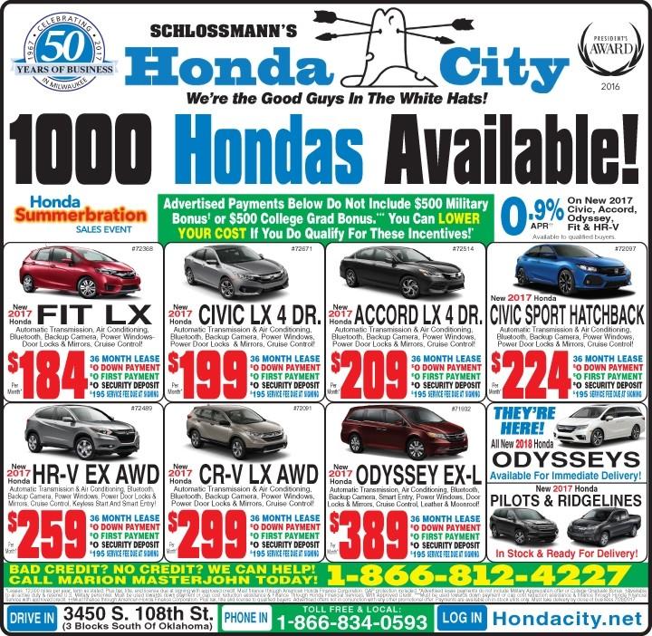 milwaukee honda lease specials
