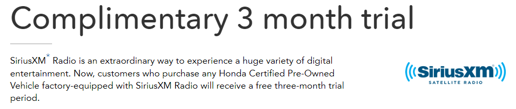 Certified Pre-Owned XM Radio Trial Period
