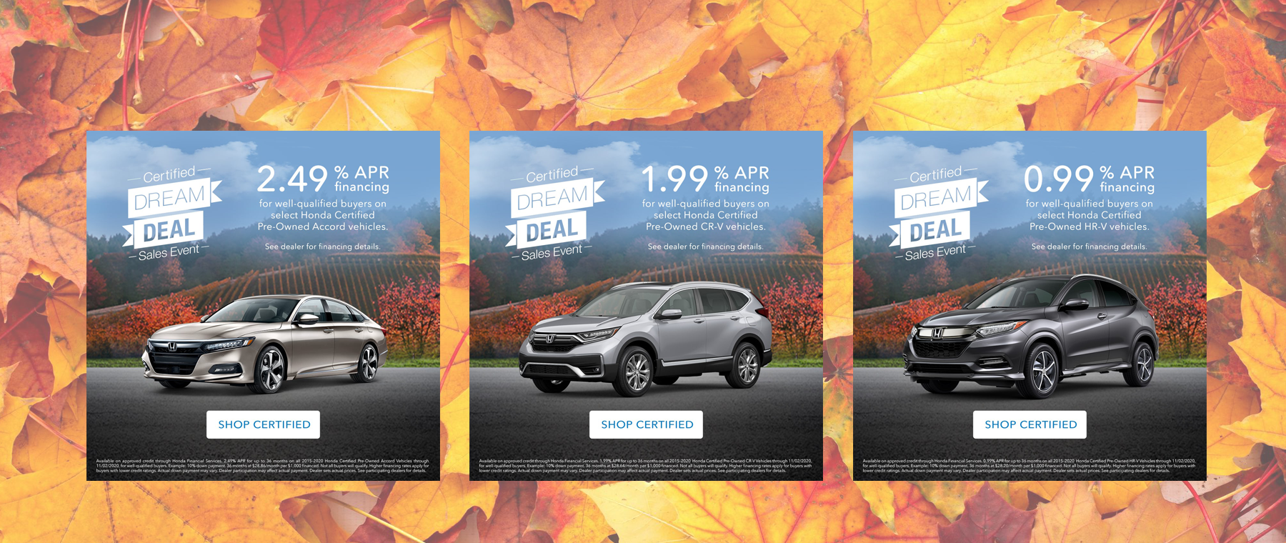 Fall Honda Certified Dream Deal Sales Event