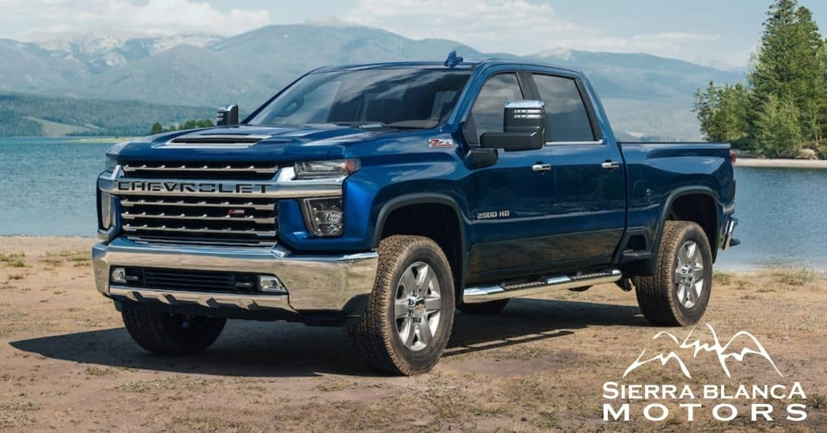 Blue 2021 Chevrolet Silverado 2500 With Lake And Mountain Background