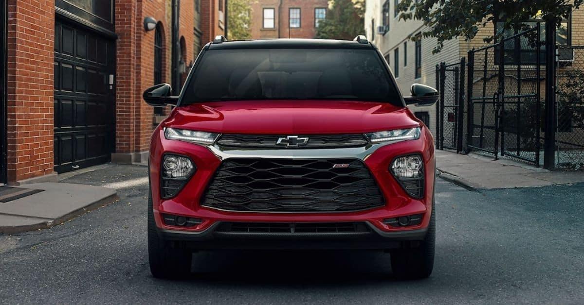 Red 2021 Chevrolet Trailblazer Front View
