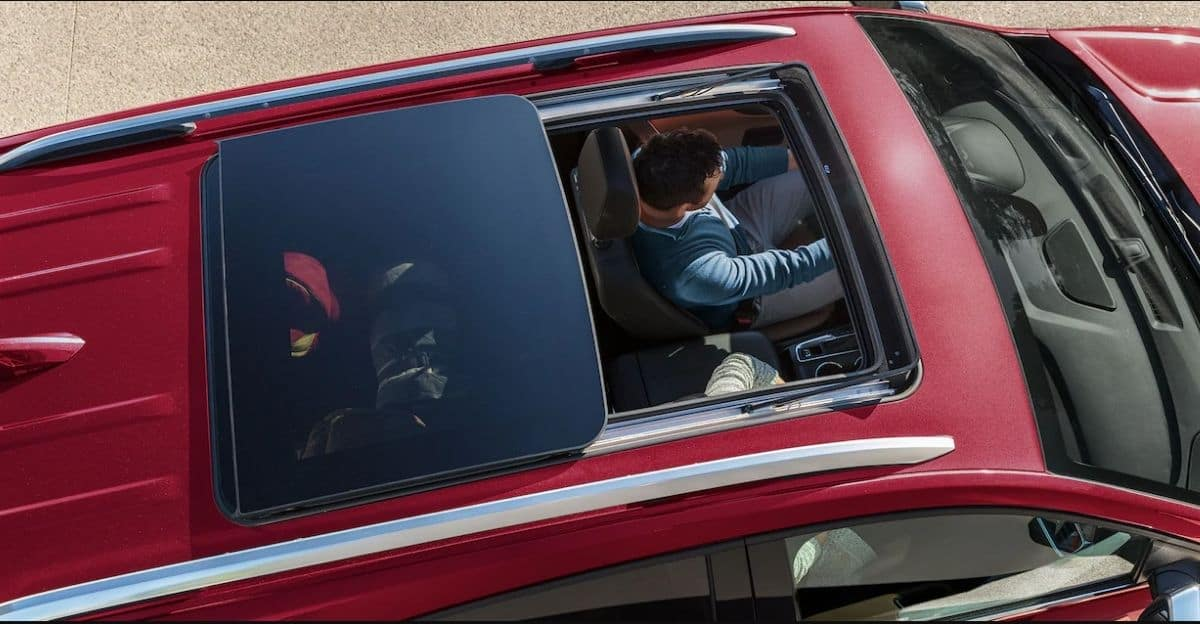Red 2021 Chevrolet Equinox With Sunroof Open