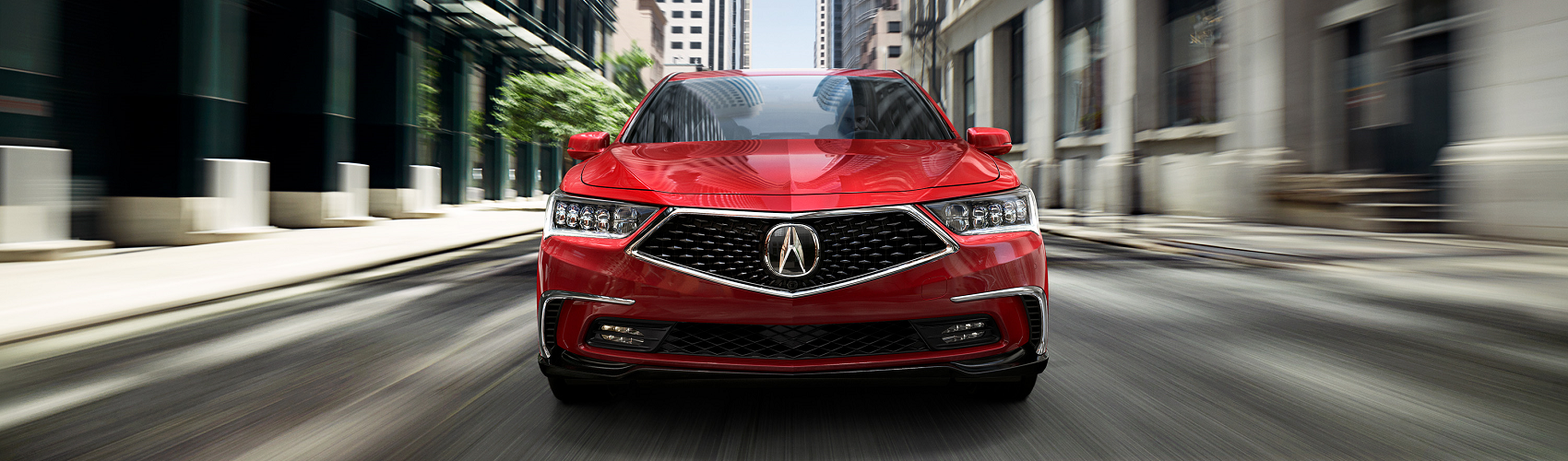 Red 2019 Acura RLX Driving