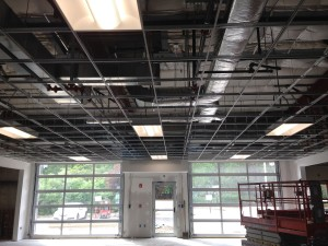 June 14, 2016 - Lighting and the drop ceiling is coming together in the new service drive.
