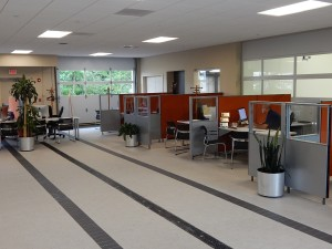 July 19, 2016 – The temporary sales showroom in our future service drive in. Sunnyside Acura Nashua, NH