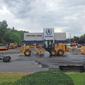 July 18, 2016 – The first stage of repaving - stripping the old asphalt. Sunnyside Acura Nashua, NH