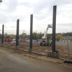October 13, 2015 - The steel framing has begun to go up for the service department expansion.