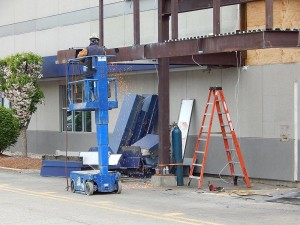Most of the steel framing will have to be cut out to remove the old entry from the building. — at Sunnyside Acura of Nashua NH.