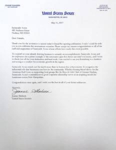 Senator Jeanne Shaheen letter to Sunnyside Acura Nashua NH