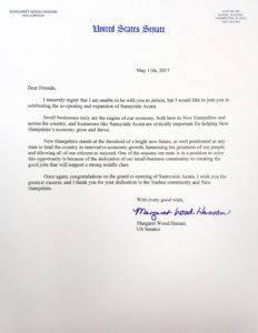 Senator Maggie Hassan letter to Sunnyside Acura Nashua NH