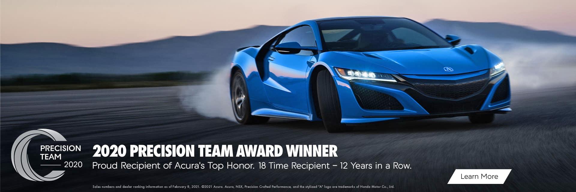 Acura Precision Team Award Winner 2020 Sunnyside Acura Nashua NH 03063