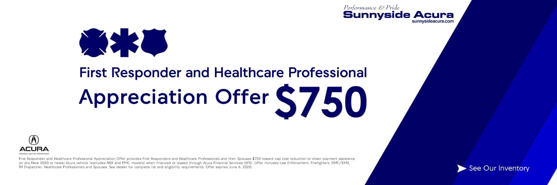 First Responder and Healthcare Professional Appreciation Offer Sunnyside Acura Nashua NH 03063