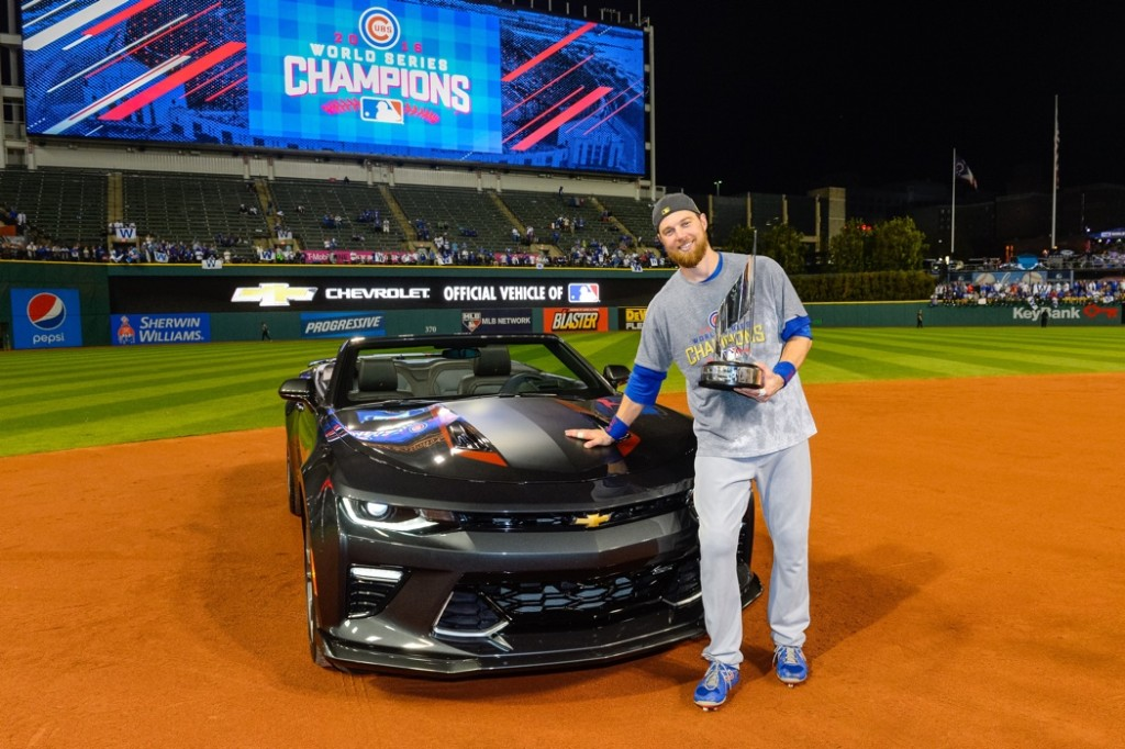 Major League Baseball's 2016 World Series Most Valuable Player and Chicago Cubs' Outfielder Ben Zobrist is presented with a 2017 Chevrolet Camaro SS 50th Anniversary Edition