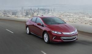 2017 Red Chevrolet Volt on Road