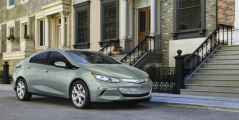 Mint Green 2018 Chevy Volt Parked on Street
