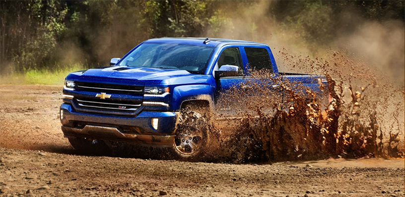 2018 Blue Chevy Silverado 1500 In the Mud