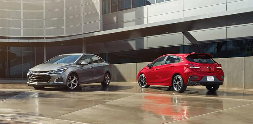 2019 Cruze Sedan Premier and 2019 Cruze Hatch RS Parked Next to Each Other