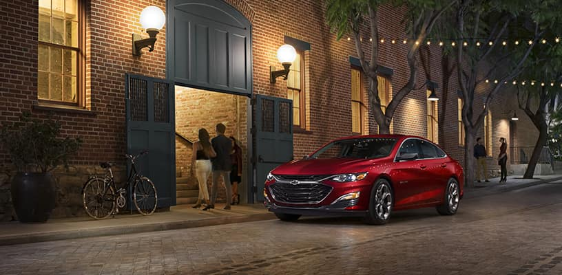 Red 2019 Chevrolet Malibu RS Parked on Street