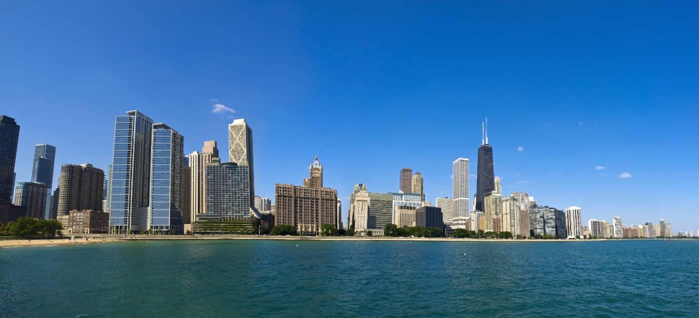 Chicago skyline at ohio beach