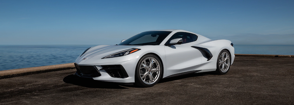 2020 chevy c8 corvette white exterior parked outside