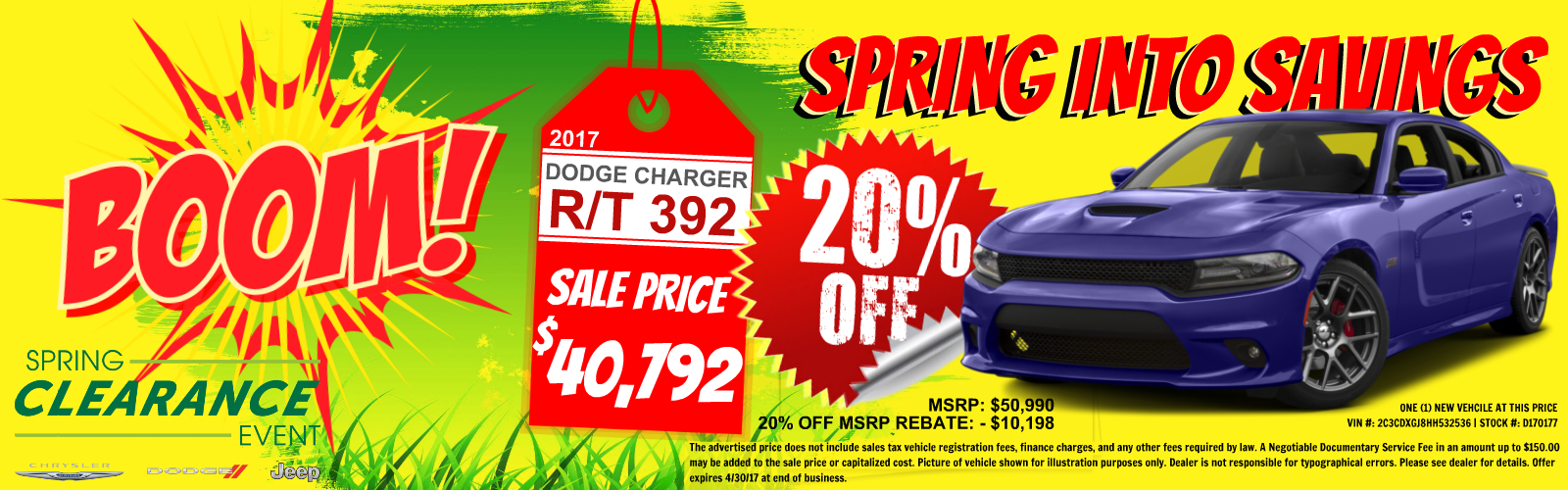 Charger 20% off MSRP at Tacoma Dodge