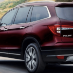 2019 Honda Pilot in red.