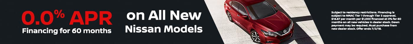 0% APR on all New Vehicles at Tamaroff Nissan