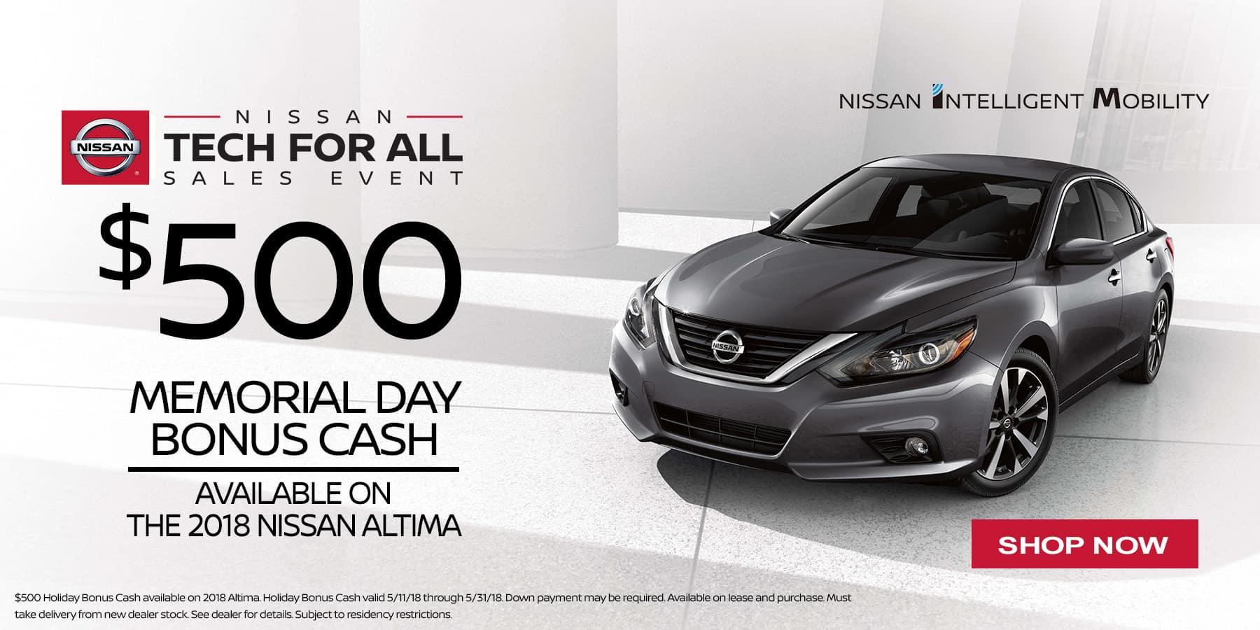 Nissan Altima bonus cash may '18 Banner