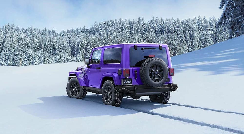 A purple 2016 used Jeep Wrangler Backcountry is driving away in a snowy forest. and leaving tire trails