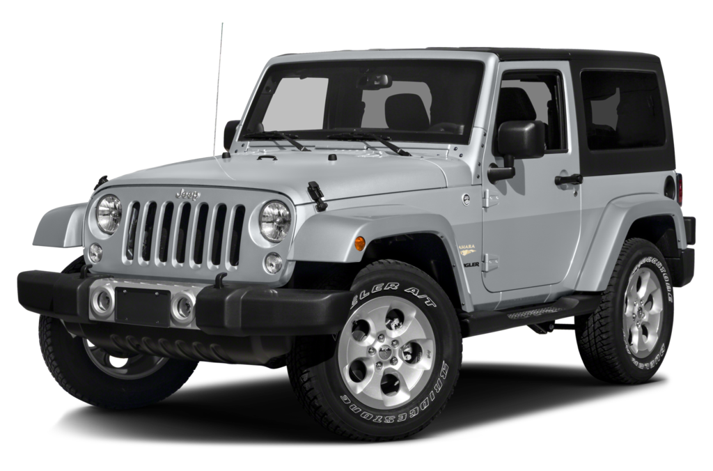 A silver 2016 Jeep Wrangler is angled left on a white background.