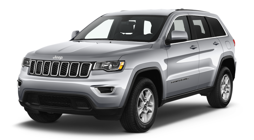 A silver Silver 2017 Jeep Grand Cherokee facing left
