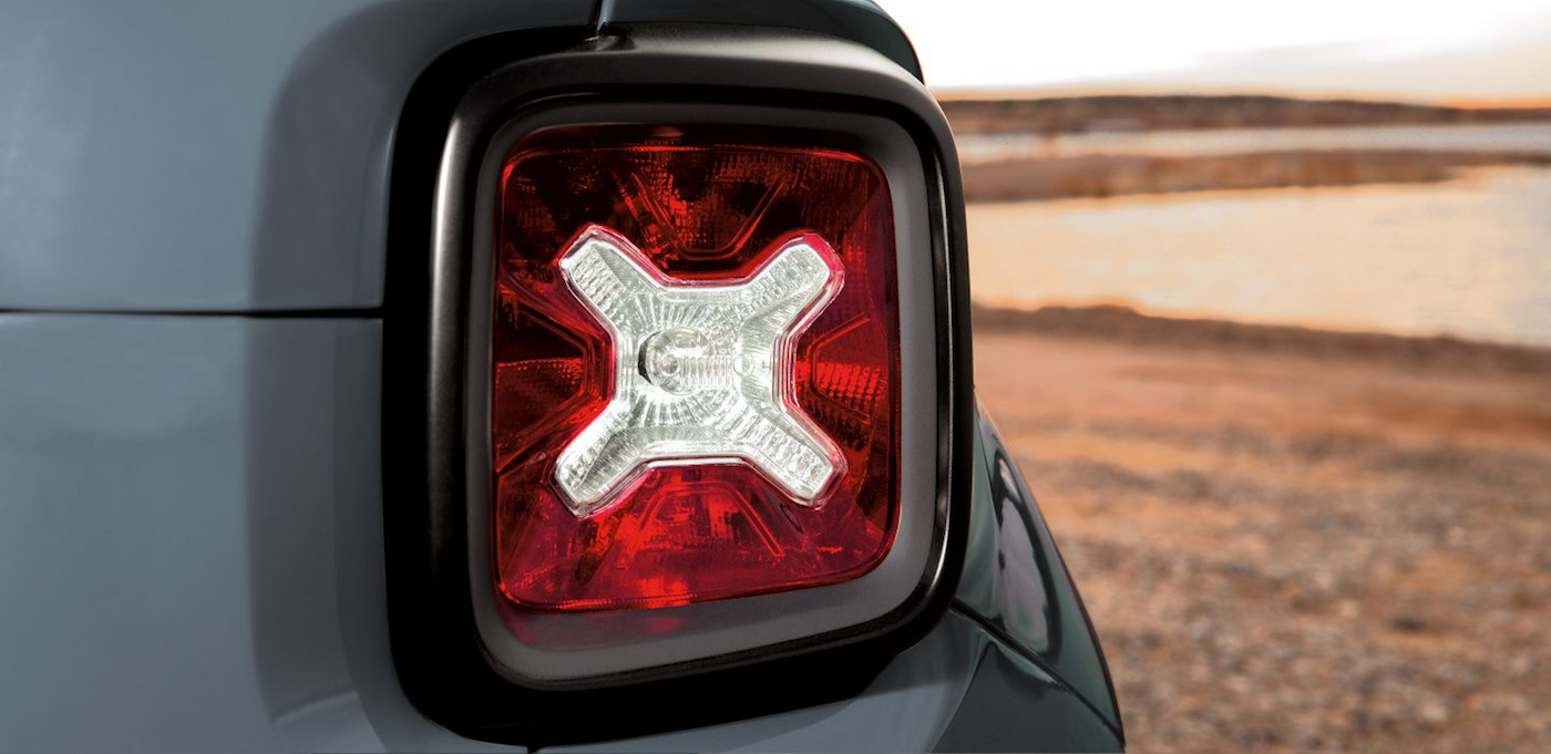 2017 Jeep Renegade Latitude tail light in the desert in Colorado Springs, CO.