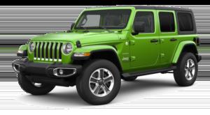 Green 2019 Jeep Wrangler on white