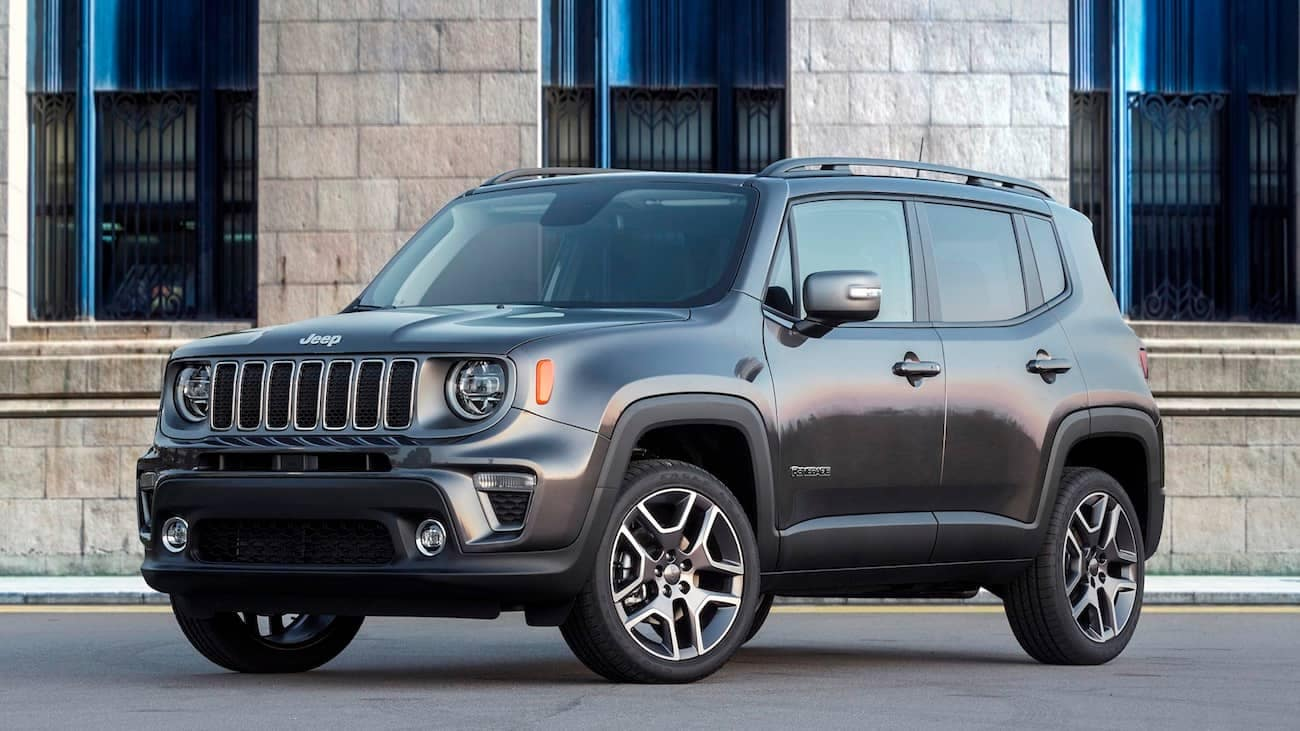 Colorado Springs - A dark gray 2019 Jeep Renegade parked next to a brick building