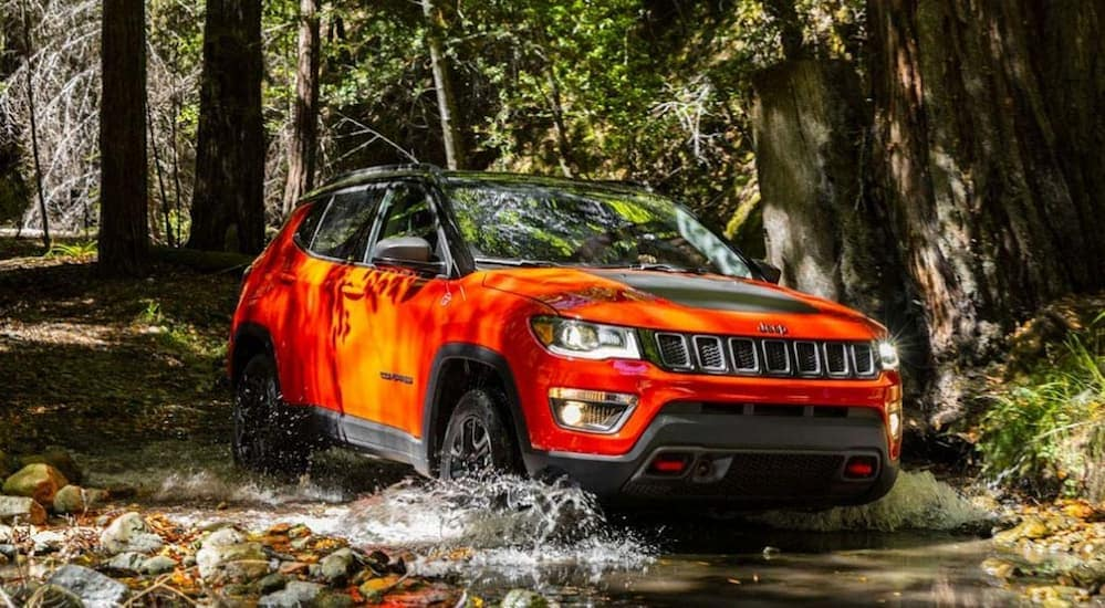 A red 2020 Jeep Compass Trailhawk, which is a popular option among Jeep models, is driving through the woods near Colorado Springs, CO.