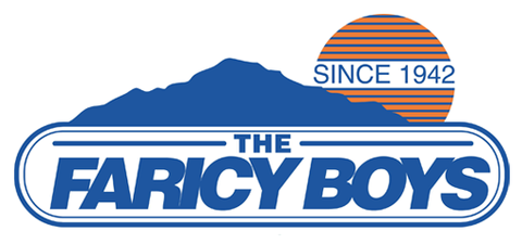 The Faricy Boys logo is shown, a mountain in front of a sun.